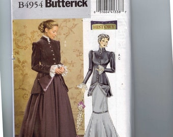 Misses Sewing Pattern Butterick B4954 4954 Misses Making History HIstorical Costume Edwardian Victorian Steampunk Size 8-14 Multisize UNCUT