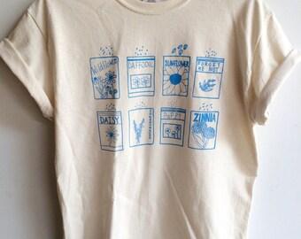 Garden Shirt, Flower Shirt, Screen Printed T Shirt, Clothing Gift, Foodie Gift, Gardening Gift