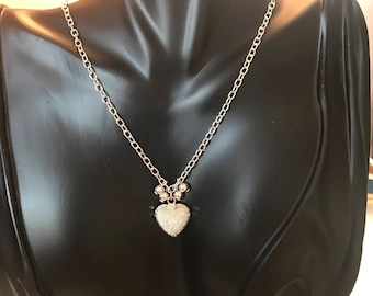 Sterling silver Heart charm necklace .