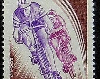 Racing Bicycles Principat D'Andorra -Handmade Framed Postage Stamp Art 11582