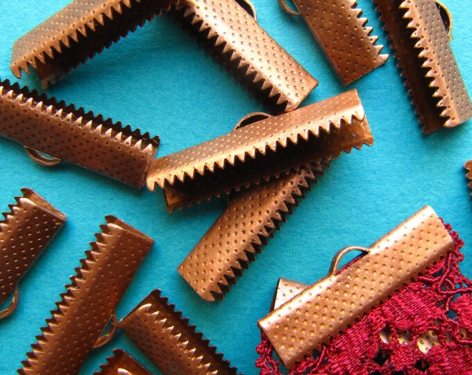 16 pieces 25mm or 1 inch Antique Copper Ribbon Clamp End Crimps