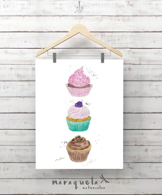 CUPCAKES illustration, cupcake, modern muffins, dessert print decor, coffee, cakes, doughnut, food prints, Kitchen decor, fashion wall art