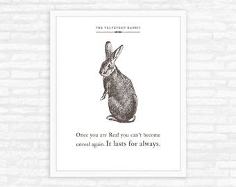Velveteen Rabbit Quote Print, literary gift, nursery decor