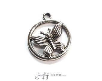 Silver Butterfly Pendants, Antique Pewter Butterfly Charms,  22x20mm, Lead Free, Cadmium Free, Lot Size 6 to 30, #1039 BY