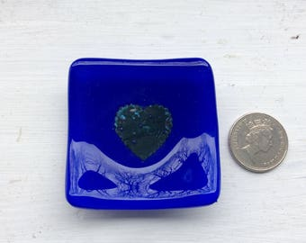 Blue heart trinket dish made from fused glass