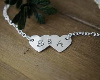 Sterling Silver Bracelet   Two Initials Jewelry   Mom of 2 or Couples Jewelry   Double Letter Bracelet   Heart with Initials Bracelet