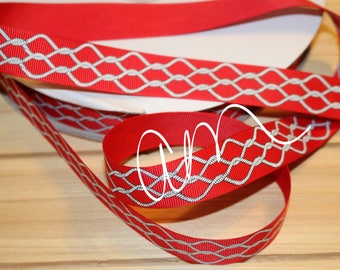 "ruban gros grain 7/8"", 3 yards, rouge corde nautique, UDSR"