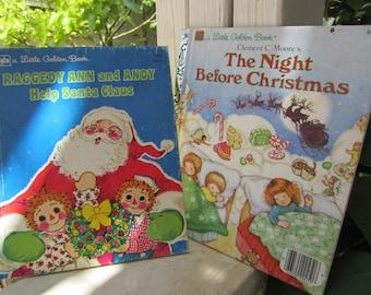 Two Little Golden Books for Christmas Vintage 1980's