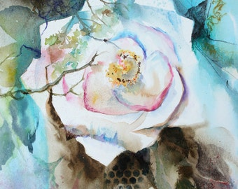 Entangled, White Rose, Original Watercolour Painting, Rose Painting, Rose Watercolor Painting, Rose Art, Floral Painting, Midnight Rose