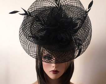 Kentucky Derby hat. Black Derby fascinator. Derby hat. Royal Ascot hat. Couture hat. Percher hat