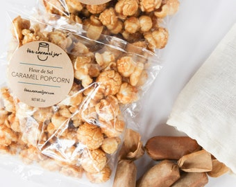 Fleur de Sel Caramel Popcorn + Caramels - Perfect Birthday, Thank You, Teacher, Co Worker and Bridal Party Gift
