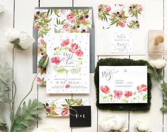 Floral Wedding Invitation, Watercolor Wedding, Printable Wedding Invitations, Wedding Invites, Calligraphy, Wedding Invitation Set, Poppies