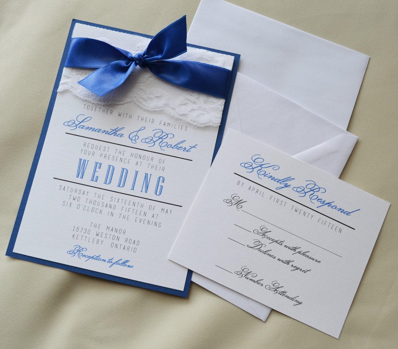 Set of 50: Royal Blue Wedding Invitation White and Royal Blue
