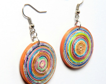 Round paper earrings - FREE SHIPPING - Paper Quilled Earrings, 1 year anniversary, upcycled recycled Round Earrings, Gift for her
