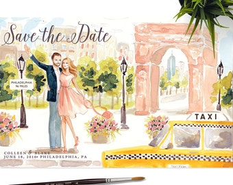 Save the Date Illustration - Couple Portrait, Wedding, Bride Groom, Engagement, Wedding Invite, Family Sketch Watercolor Painting Drawing