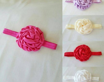 Satin rolled rose flower with foe headband