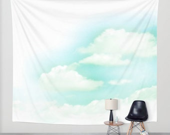 "51"" x 60"" + Wall Tapestry, Polyester Photography Backdrop, Home, Nature, Fine Art, Inspirational, Dreamy, Cloud, Blue Sky, Wedding, Baby"