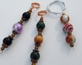 Set of 3 mixed key chains & zipper pulls, cell phone charms # 12