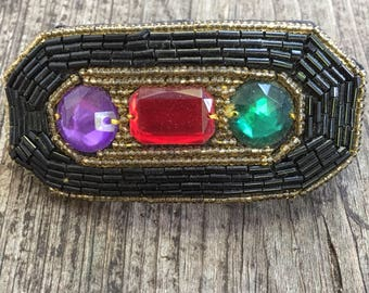 French Beaded Barrette