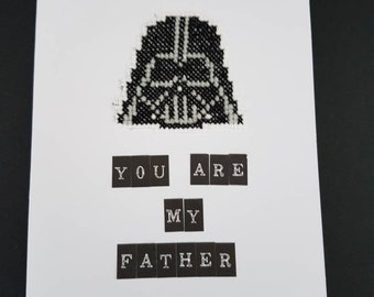 Handmade cross stitched STAR WARS themed Father's day cards