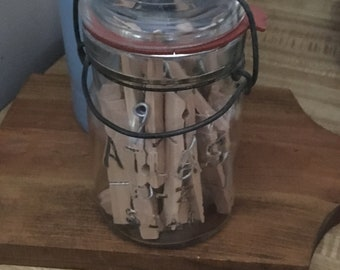 Glass Jar With Vintage Clothes Pins