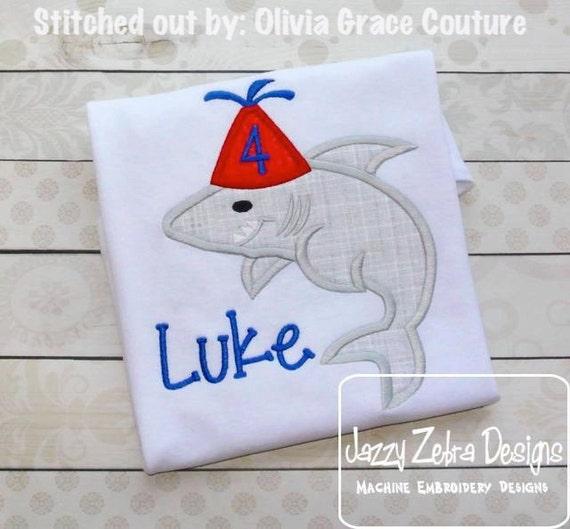 Shark Birthday Appliqué Embroidery Design - Birthday appliqué design - shark appliqué design - beach appliqué design -  party hat appliqué