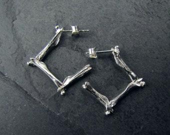 Sterling Silver Femur Hoops