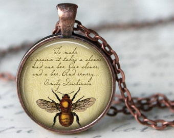 """EMILY DICKINSON Quote Pendant Necklace """"To make a prairie it takes ...."""" Poem Glass Pendant Jewerly Handmade Necklace Literary jewerly"""