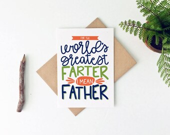 Funny Father's Day Card - Funny Birthday Card for Dad - Happy Father's Day Card - World's Greatest Farter