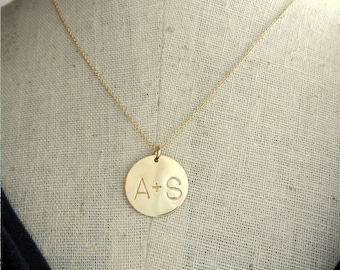 Couples Initial Necklace | Engagement Gift | Girlfriend Jewelry | Personalized Couples Necklace | Gold Initial Charm Necklace