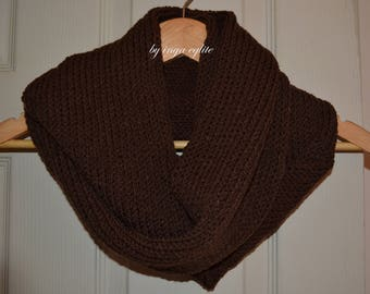 knitted scarf, snood scarf, stylish scarf, solid brown scarf, winter accessories, ladies scarf, man scarf, uk scarves