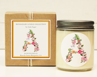 Monogram Candle   Gift For Her   Sister Gift   Holiday Gift Idea   Mothers Day Gift   Birthday Gift for Her   Monogram Gift   Send a Gift