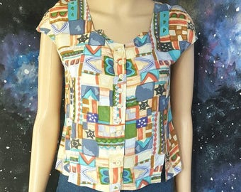 VINTAGE Abstract Geometric Sweetheart Blouse Shirt Top SMALL