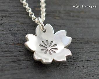 Sakura necklace, Sakura blossom pendant, 100% Handmade, Cherry blossoms necklace, Her gift, Japanese jewelry, Japan gift, SOLID 925 silver