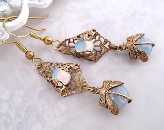 White opal earrings, glass opal earrings,  dragonfly earrings Art Deco filigree dangle earrings, drop earrings, Victorian dragonfly jewelry