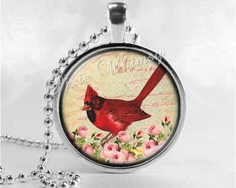 CARDINAL Pendant Necklace, Red Bird Jewelry, Glass Photo Art Necklace, Pink Shabby Roses, Woodland Nature Jewelry