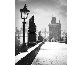 Black And White Prague Photo, Charles Bridge Snow - Czech Republic Prague, Snowy morning - Bridge Tower - Foot prints in snow