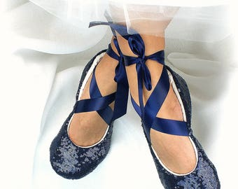 Wedding Ballet Flats Shoes Sequin Navy Blue Wedding Flats Custom Ballet Flats With Ribbon Ties Bridal Shoes Ballet Slippers