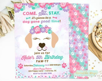 Puppy Face Birthday Invitation, Time to Paw-ty Invitation, Girl Dog Invite, Puppy Adoption Birthday, Doggie Birthday Party, Dog Party, Girly