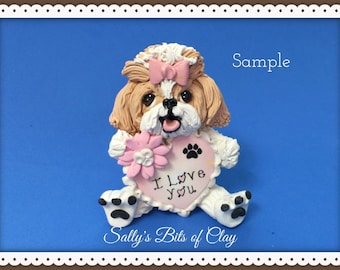 Tan and White Shih Tzu I LOVE YOU heart sculpture Polymer Clay dog art by Sallys Bits of Clay