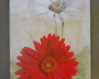 Dancing in the Moonlight canvas wall decor of Gerbera daisies in layered textures