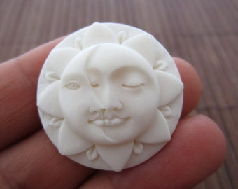 Excellent detail  buffalo  Bone carving, Embellishment, sun face closed eyes, Jewelry making Supplies S7165