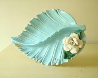 Vintage ashtray, aqua palm leaf with white rose, Enchanto of California pottery, mid-century modern, Hollywood glamour, smoking accessory