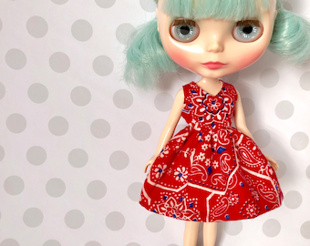 Bandana-Rama Retro Day Dress / One-of-a-Kind Doll Dress for Blythe