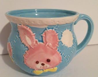 Vintage Parma AAI Blue Cup Baby Planter Pink Bunny Nursery Decor Japan A-1498