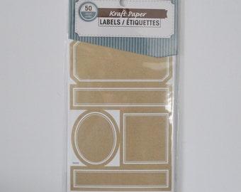 Kraft Stickers Labels Labels DIY Labels Jar Labels 50 Labels assorted shapes and sizes