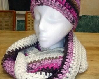 Hat, Scarf, Crocheted Scarf, Crochet Knit Scarf, Crocheted Hat, Crocheted Scarf, Hat and Scarf Set, Infinity Scarf, Circular Scarf
