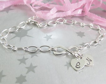 Infinity Charm Bracelet with Hand Stamped Personalized Initial Heart Charms. Sterling Silver Personalized Jewellery. Love Bracelet.