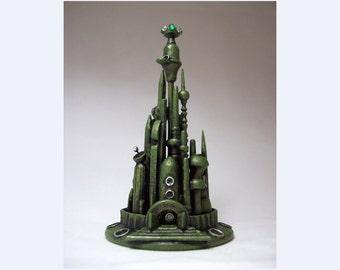 Sculpture sur bois espace mars Alien ville Wedding Cake Topper émeraude vert martien tours