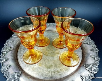 Set of 4 vintage amber cordial sherry glasses - cordial glassware - vintage barware - vintage sherry glasses - amber sherry glasses